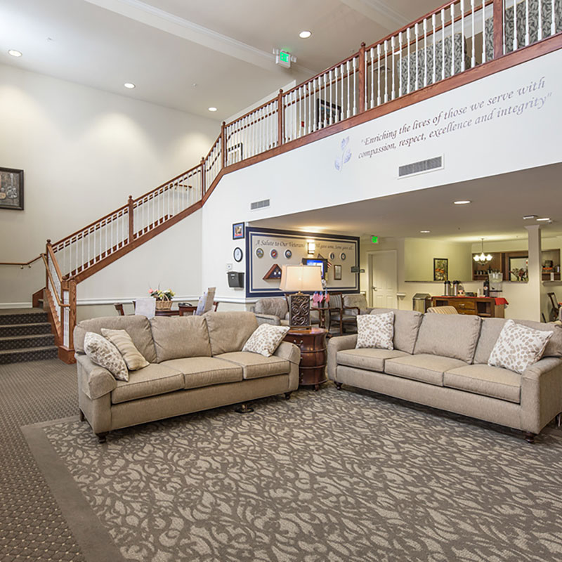 Living room and lobby at Aurora - Assisted Living & Memory Care at Cadence Aurora, CO